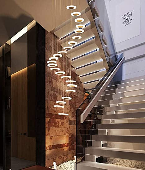 Escalera Pasillo Lámpara colgante Luz colgante de techo redonda Moderno Creativo LED Blanco cálido Sala de estar Comedor Araña Loft Hall Hotel Tienda Decoración Lámpara,28lights: Amazon.es: Iluminación