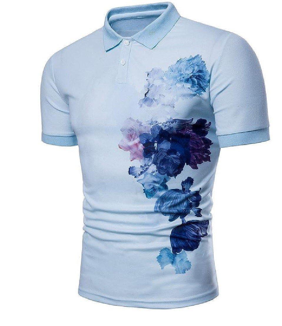 647ff3c3257e BabyYoungMen BabyYoung Men Turn Down Collar Short-Sleeve Patterned Button Down  Classic Polo Tee Tshirt Sky Blue XL  Amazon.co.uk  Clothing