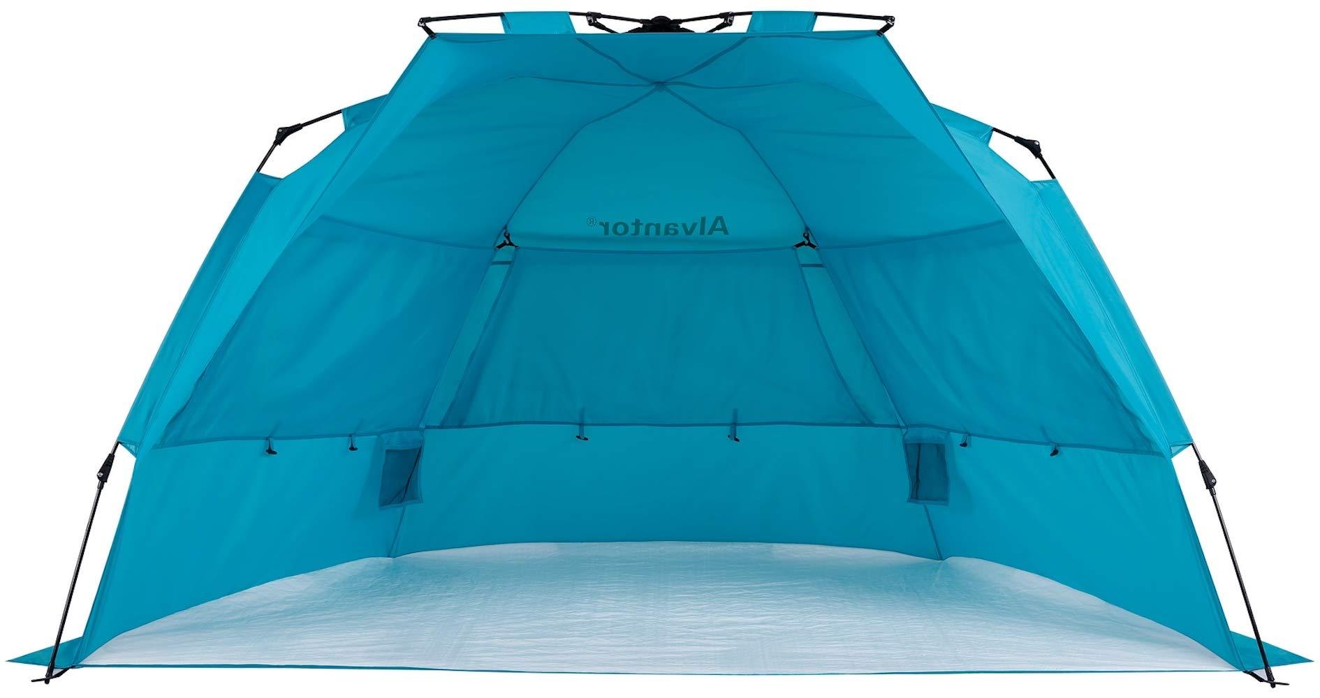 LEEDOR Super BlueCoast Beach Tents Beach Umbrella Automatic Quick Instant Pop-Up Patent Pending Hub Anti-UV Sun Shade Tent Portable Outdoor Sun Shelter Cabana 3-4 Person Camping, Fishing, Hiking