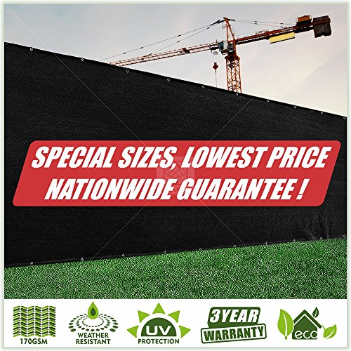 ColourTree Fence Screen Privacy Screen Black - Commercial Grade 170 GSM - Heavy Duty - 3 Years Warranty - Custom (6' x - 10 Windscreen