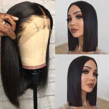 Amazon Com 13x4 Short Bob Lace Front Wigs Human Hair Straight Natural Hairline 10 Inch Brazilian Remy Hair Wigs Pre Plucked With Baby Hair For Black Women Beauty