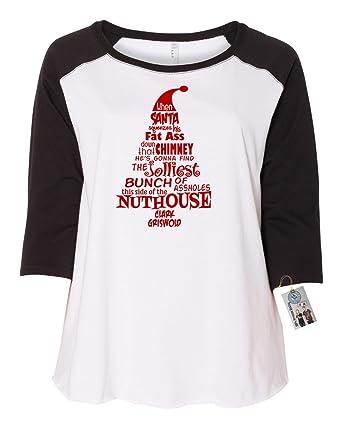 fbe1aa4c322 Amazon.com  Custom Apparel R Us Christmas Vacation Nuthouse Plus Size  Womens Raglan T Shirt  Clothing