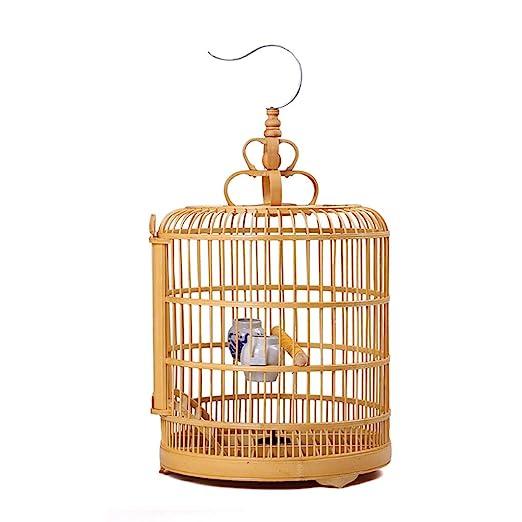 Jaula de vuelo Color de madera Jaula de pájaros Mejora Bambú ...