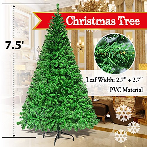 BenefitUSA 7.5' White Classic Pine Christmas Tree Artificial Realistic Natural Branches-Unlit 230CM 1200 Tips With Metal Stand Full Christmas Trees