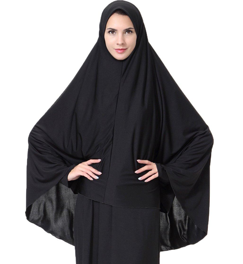 Ababalaya Women's Elegant Modest Muslim Islamic Ramadan Soft Lightweight Jersey Hijab Long Scarf,Black,L