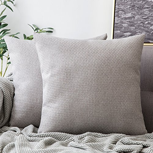 (MIULEE Pack of 2 Decorative Plaids Woven Pillow Cover Checked Soft Soild Square Weave Throw Pillow Sham Home Decor Design Cushion Case for Sofa Bedroom Car 18x18Inch 45x45 cm Cloud Grey)