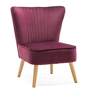 LYSSA VELVET RETRO OCCASIONAL BEDROOM LIVING ROOM FABRIC ACCENT CHAIR  (Purple)