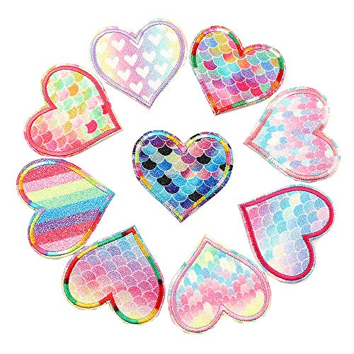 Pack of 9 Shiny Colorful Heart Shaped Glittering Emoji sew Iron on Appliques Embroidered Patches Rainbow Fish Scale Grain Patches Motif for Clothes DIY Accessories Crafts Stickers (Heart)