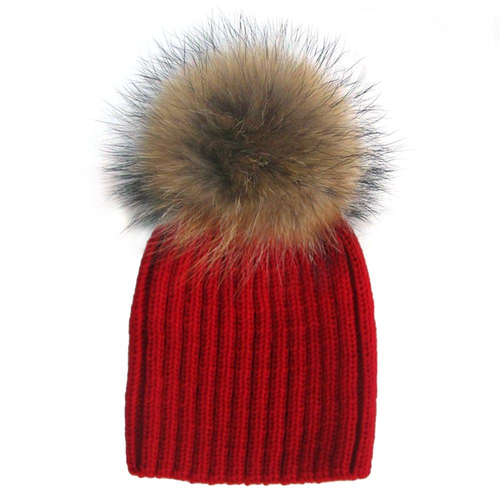 MIOIM Baby Boys Girls Winter Warm Hat Raccoon Fur Ball Knit Beanie Ski Cap SEA253BK