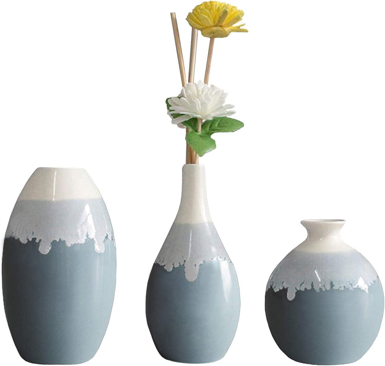 Ceramic Flower Vase, Anguipie Blue Ceramic Vase Sets of 3, Small Decorative Vase, Unique Glazed Design Vases, Modern Flower Vase for Home Decor, Centerpieces, Living Room, Kitchen, Wedding