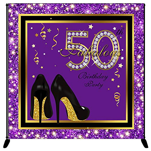 Purple Glitter Backgrounds - Mehofoto Fabulous 50th Birthday Backdrop High Heel Purple Glitter Photography Background 8x8ft Vinyl Happy 50th Birthday Party Banner Decoration