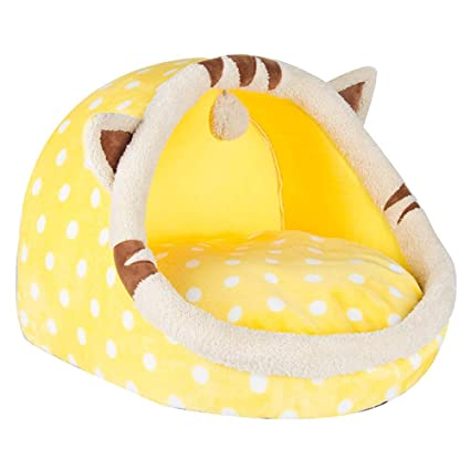 Steaean Cama para mascotas Gato camada canina pequeño perro Peluche otoño e invierno perrera lavable cama