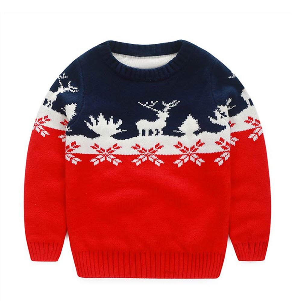 UWESPRING Little Boy Sweater Xmas Cartoon Deer Knit Pullover