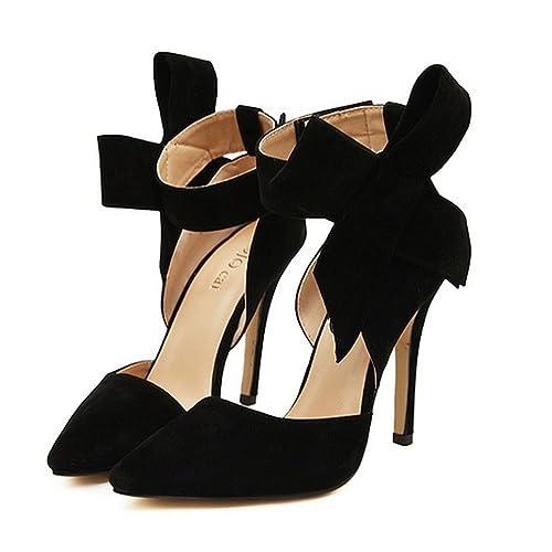 2b08326a8f57 Xianshu Womens Bow Tie High Heel Pumps Party Dress Court Shoes(Black-35)