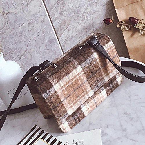 Bag Temperament Square Wool Cap Aoligei Fashion Lattice Small Shoulder Bag Small Colored Single q0zpwEv