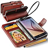 N+ India Samsung Galaxy J7 - 6 (New 2016 Edition) Rich Leather Stand Wallet Flip Book Pouch Soft Phone Bag Antique Leather Case With Touch Stylus Pen Brown
