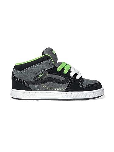 41dde82a8f Amazon.com  Vans Edgemont Black Charcoal Grey Lime Green Mid Tops Unisex  Kids Size 1  Shoes