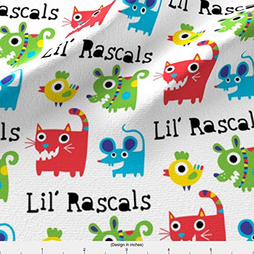 Spoonflower Cat Fabric Little Rascals by Andibird Printed on Lightweight Cotton Twill Fabric by the ()