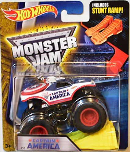 HOT WHEELS MONSTER JAM 2016 INCLUDES STUNT RAMP! CAPTAIN AMERICA #52