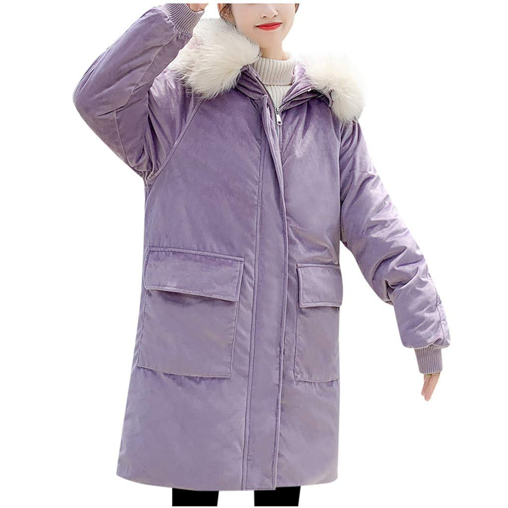 Dainzuy Women Warm Down Jacket with Hood Faux Fur Coat Fashion Winter Suede Parka Outerwear with Pockets Purple by Dainzuy Womens Outerwear