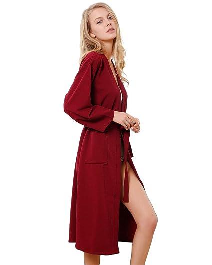 JHKJ Batas Baño para Mujer Vestido Gofres Bata Dormir Cuello Kimono Desgaste Largo, para All