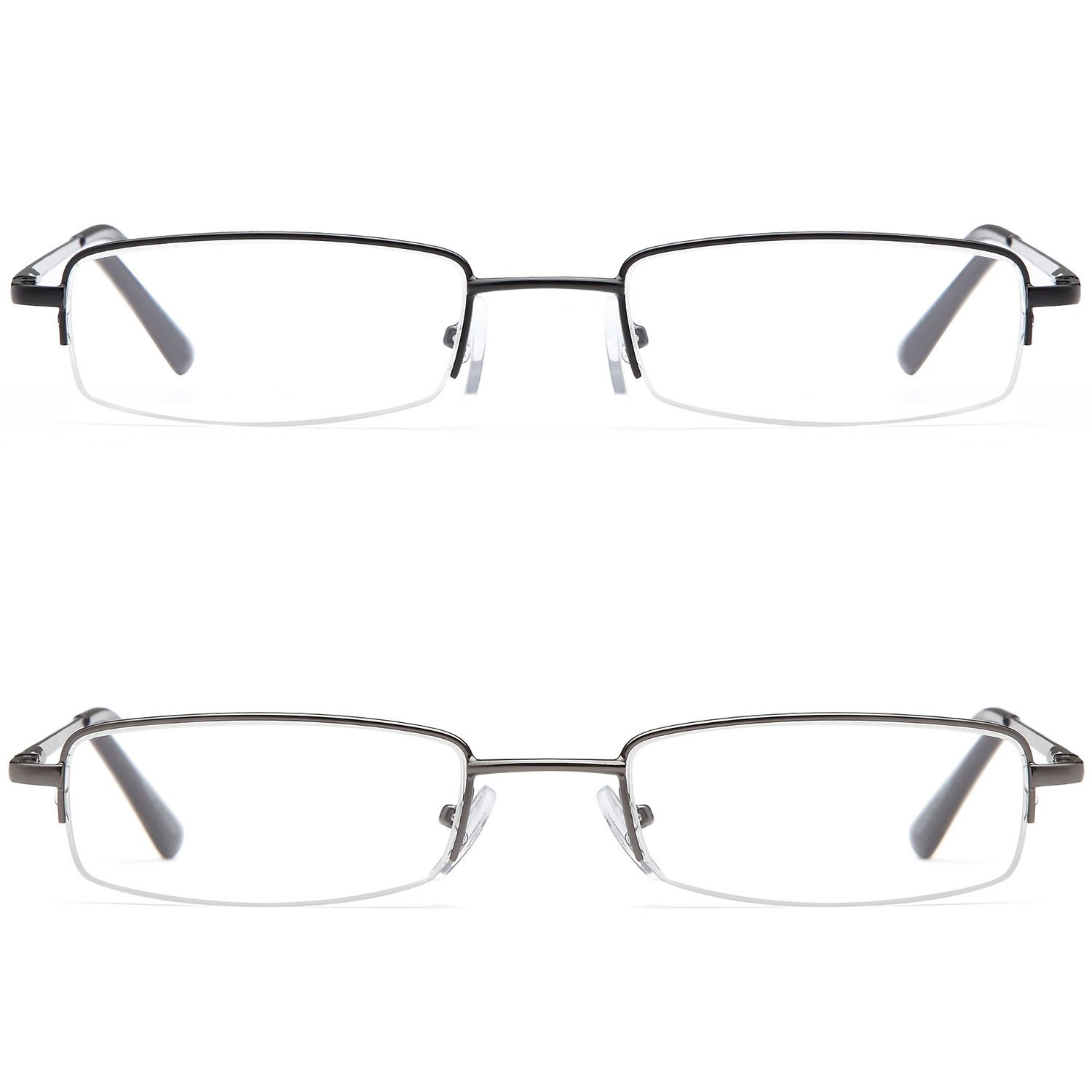 9cd44dba0fc Amazon.com  DOUBLETAKE 2 Pack Half Rim Reading Glass Readers w Hard Case   Clothing