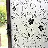 DUOFIRE Window Film Black Flower Pattern Privacy Window Film Frosted Glass Film No Glue Static Cling Glass Film Anti-UV Window Sticker For Bathroom Bedroom Living Room 23.6in. x 78.7in. DP014B