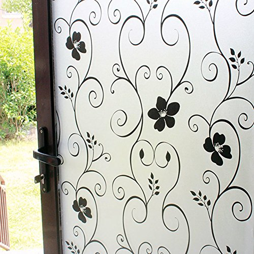 DUOFIRE Window Film Black Flower Pattern Privacy Window Film Frosted Glass Film No Glue Static Cling Glass Film Anti-UV Window Sticker For Bathroom Bedroom Living Room 23.6in. x 78.7in. DP014B by DuoFire