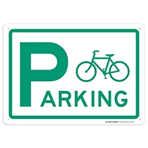 """Bicycle Parking Sign Bike Decor Bike Rack Parking Sign, 10""""x 14"""" Industrial Grade Aluminum, Easy Mounting, Rust-Free/Fade Resistance, Indoor/Outdoor, USA Made by MY SIGN CENTER"""