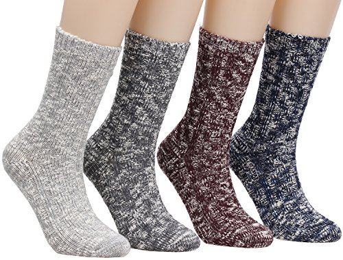 Knit Socks (Women's Winter Vintage Cotton Wool Knit Long Crew Socks 4 Pairs 5-10 WS18 (4Pairs))