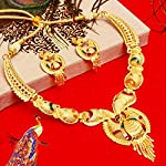 Mansiyaorange Combo of Two Party One Gram Gold Forming Premium Long Haram and Choker Multi Color Jewellery Necklace/Juelry/jwelry Set Jewellery for Women