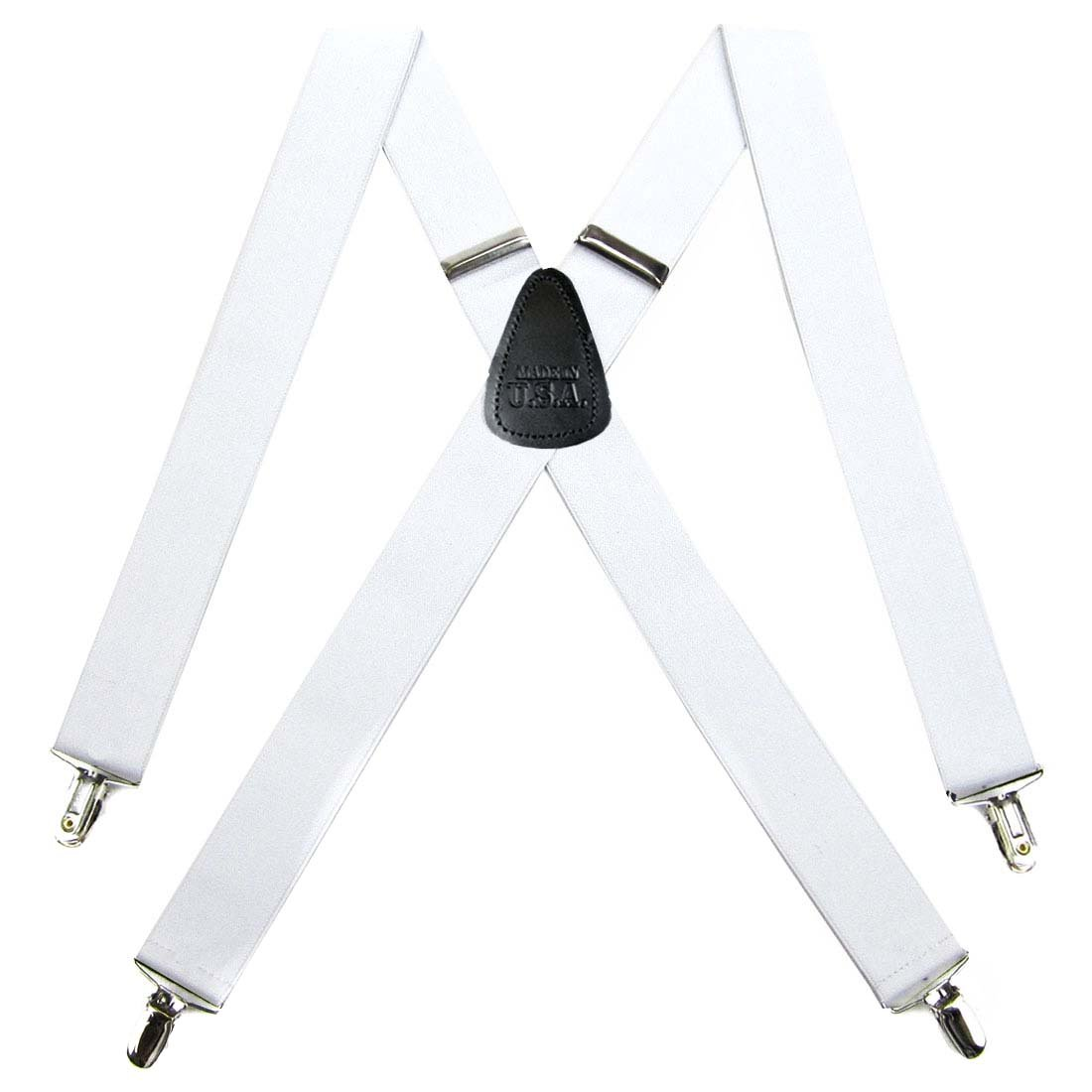 Solid Suspender for Men Made in USA X-Back Genuine Leather Trimmed clip end tuxedo suspenders Many solid colors available Kelley Green One Size BuyYourTies