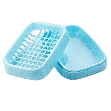 Double Layer Soap Dish Soap Tray Holder Leak-proof Drain Rack Bathroom,White