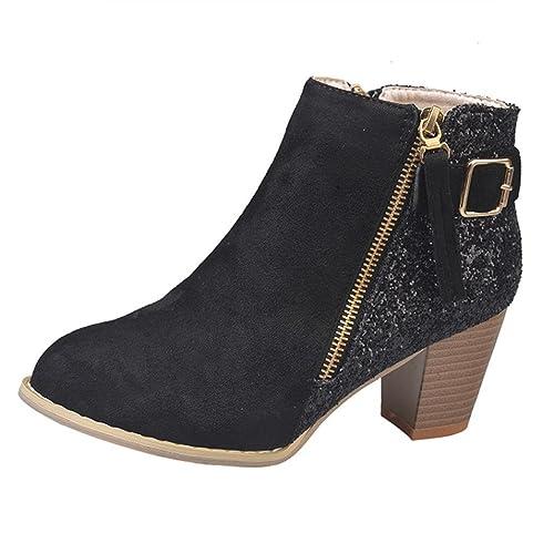 vente la plus chaude styles classiques plus gros rabais Bottines Western A Talon Carrés Femme,Overdose Sexy Hiver Automne  Chaussures Bottes Mode Femmes Métallisée Boots