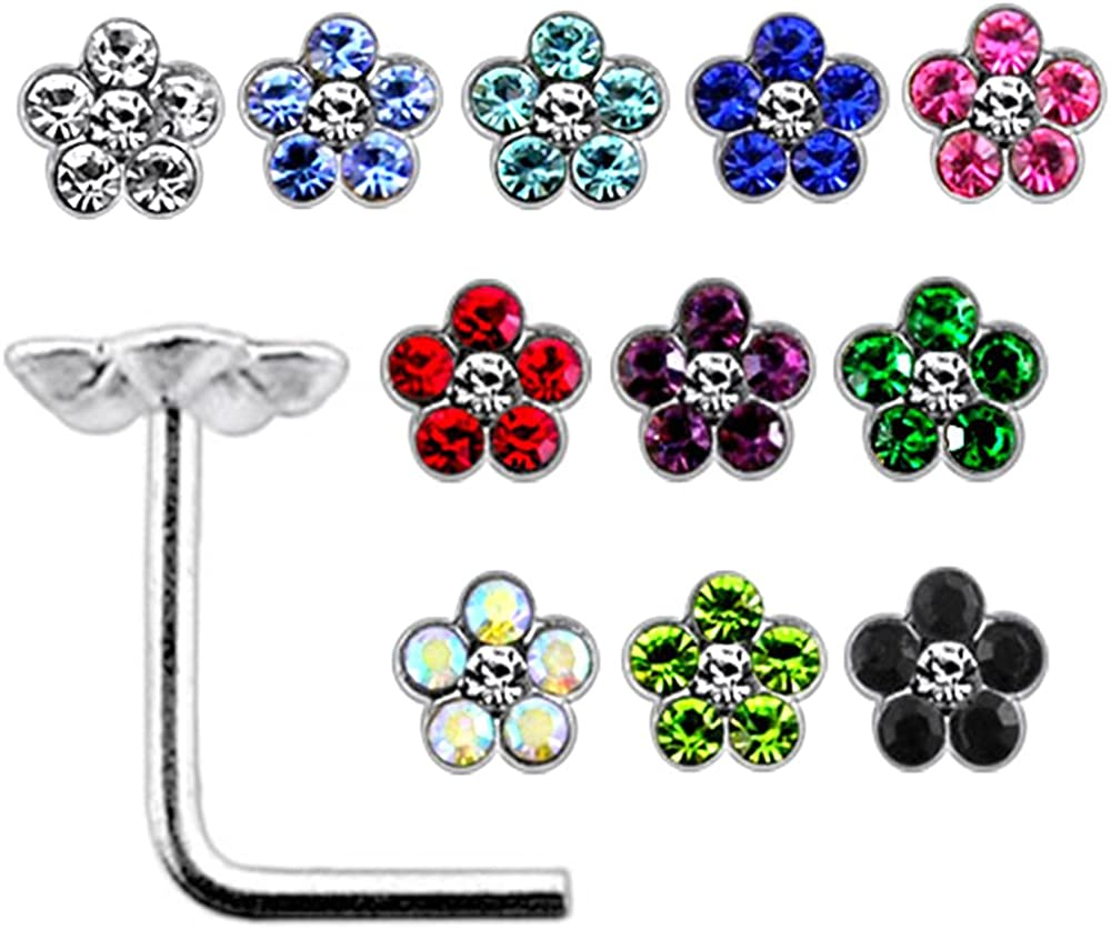 20 Pieces Box Set of Mix Colored Multi Crystal Stone Flower Top 22 Gauge 925 Sterling Silver L Shape Nose Stud