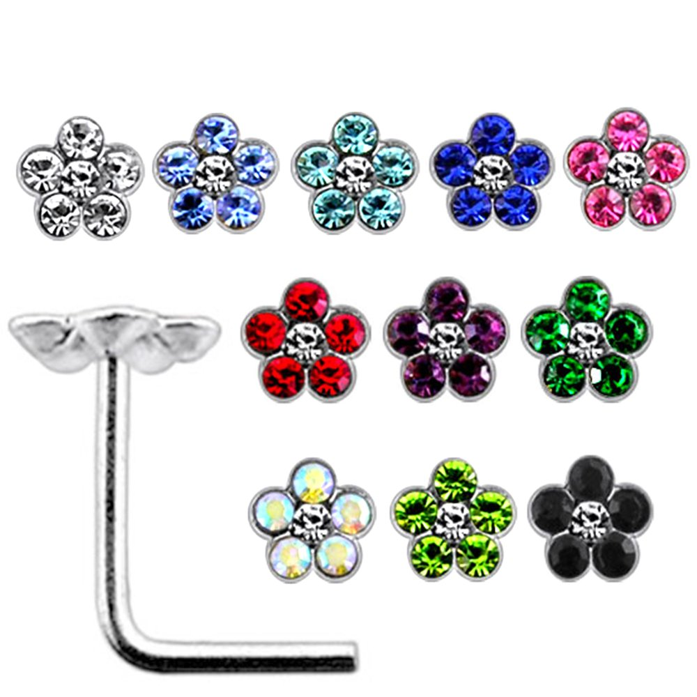20 Pieces Box Set of Mix Colored Multi Crystal Stone Flower Top 22 Gauge 925 Sterling Silver L Shape Nose Stud by PiercingPoint