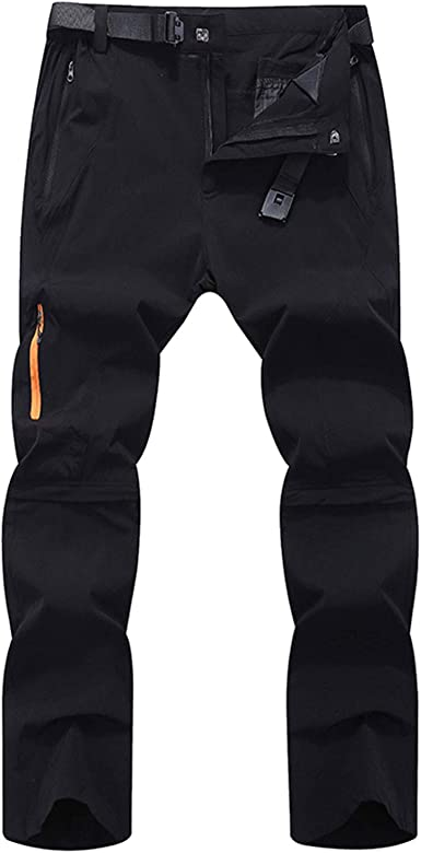 LY4U Mens Zip Off Convertible Quick Dry Hiking Trousers Breathable Lightweight Water Resistant Outdoor Casual Climbing Walking Cycling Trousers