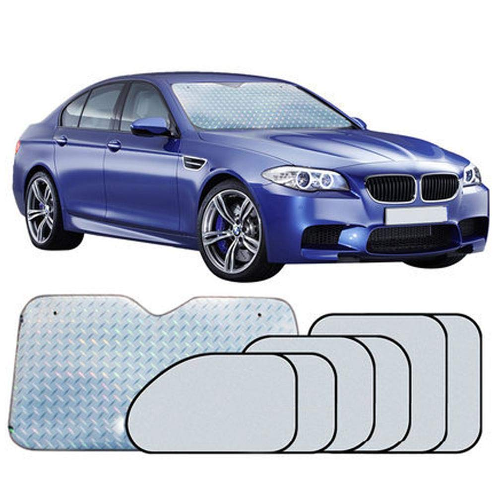 Vuffuw Car Sunshade, 7 Sets of Laser Car Window Shade Universal 360° All-Round Shading,Protect Your Car from Sun Heat & Glare Best UV Ray Visor Protector Suitable for Most Cars -Silver