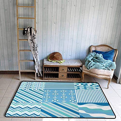 (Bath Rug Slip Baby Shower Nautical Dots Stripes Zig Zag Chevron Wavy Anchor Life Belt Geometric Anti-Fading W55 xL63 Teal Turquoise Blue)