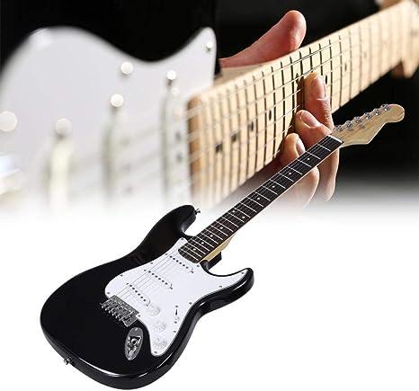 Guitarra Eléctrica de Madera 33 Pulgadas 6 Cuerdas, Kit de Guitarra Eléctrica con Bolsa y Accesorios, Blanco Negro: Amazon.es: Instrumentos musicales