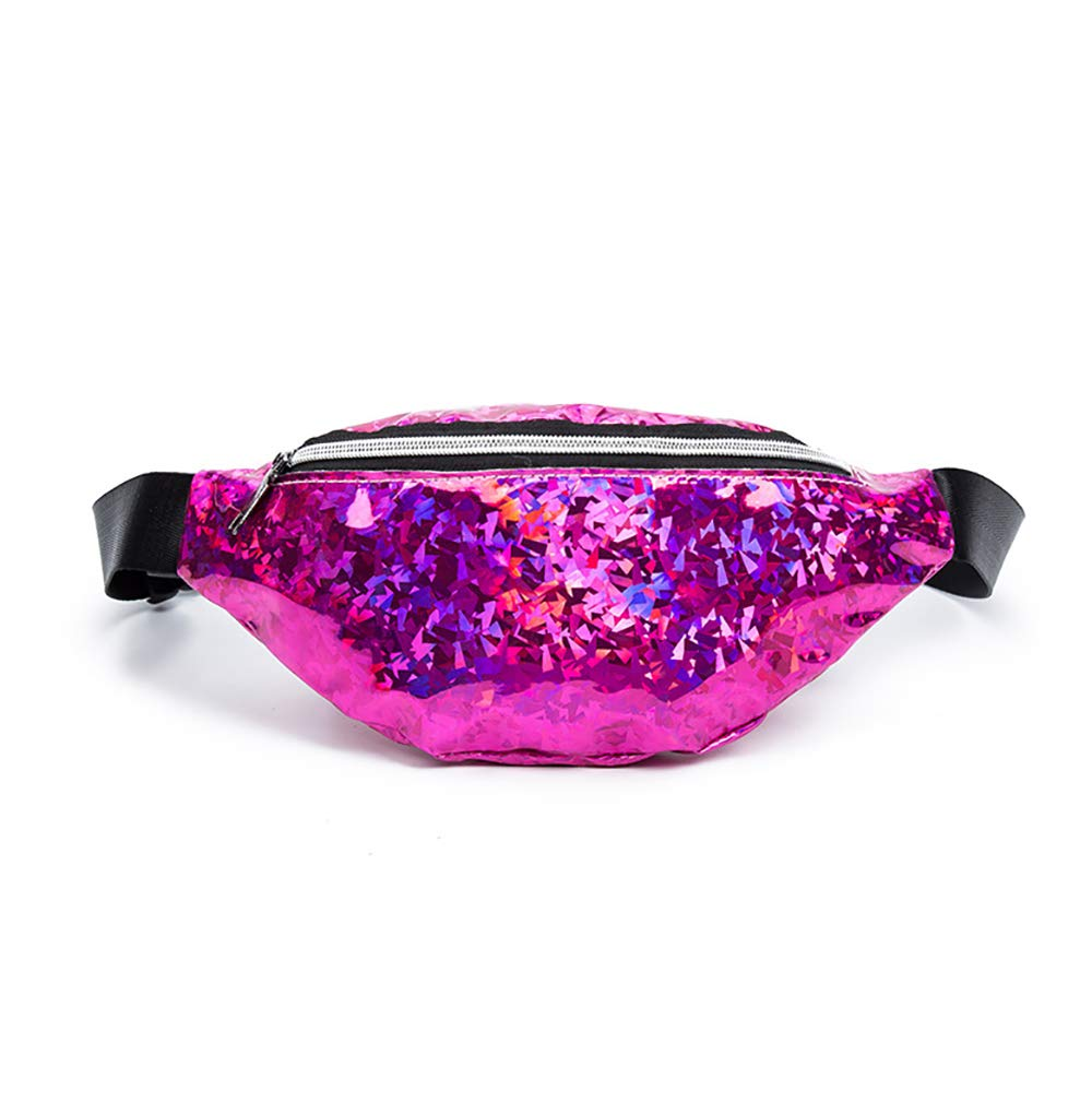Fashion Cool Fanny Pack for Girls and Women Blue AMHDV Glitter Waist Pack
