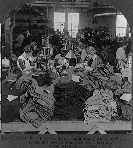 HistoricalFindings Photo: West Alhambra,California,CA,Felt Slippers,Patterns are Sewed,June c1923