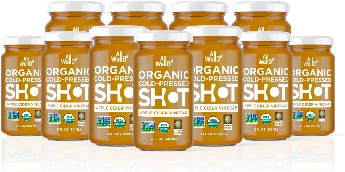 AllWellO Cold-Pressed Apple Cider Vinegar Shot, 60 mL, Natural USDA Organic Boost with Digestion Support, Improves Insulin Sensitivity, Anti-Aging Properties (12 Pack)