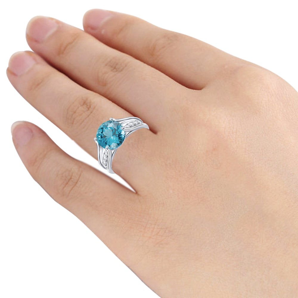 Design in Silver A Unique Gift For Wife For Moms Orchid Jewelry 3.38 Ctw Synthetic Round Blue Aquamarine and Topaz 925 Sterling Silver Ring For Women A March Birthstone Gemstone-A Beautiful