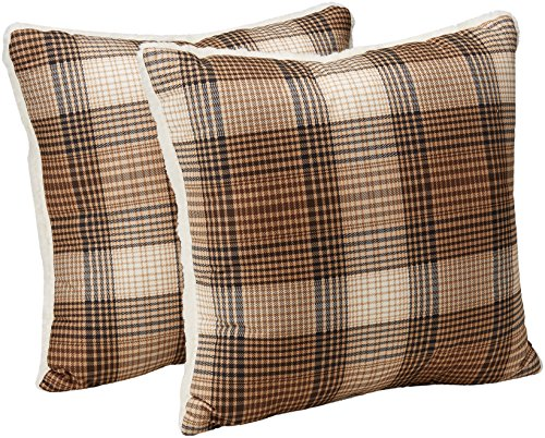 Woolrich Lumberjack Printed Softspun to Berber Throw Pillow, Lodge/Cabin Cozy Square Decorative Pillow, 18X18, Set of 2, Brown