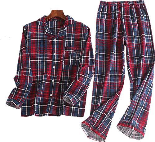 (Mens Flannel Pajamas Set 100% Cotton PJs Long Sleeve Sleepwear Red Plaid M)