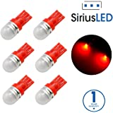 SiriusLED Super Bright 1W 360 Degree LED Bulbs for Interior Car Light Instrument Panel License Plate Dome Map T10 168 194 2825 Red Pack of 6