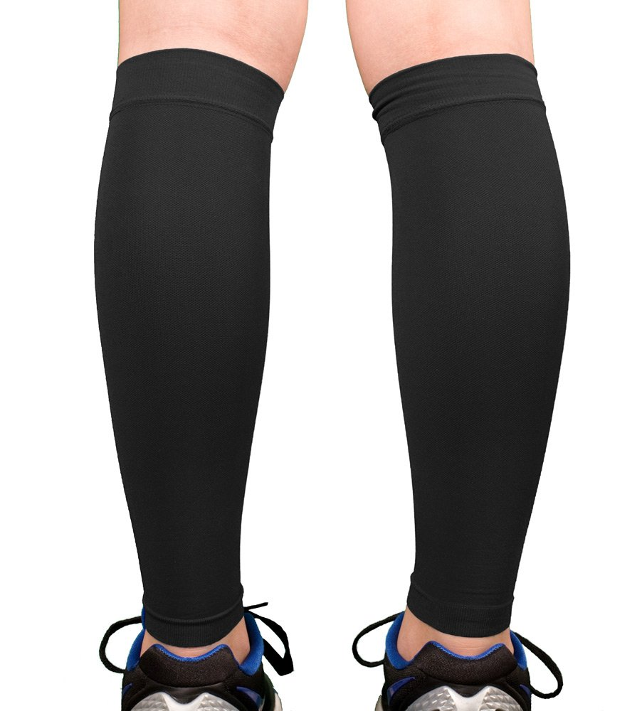 Doc Miller Premium Calf Compression Sleeve 1 Pair 20-30mmHg Strong Calf Support Multiple Colors Graduated Pressure for Sports Running Muscle Recovery Shin Splints Varicose Veins (Black, XX-Large)
