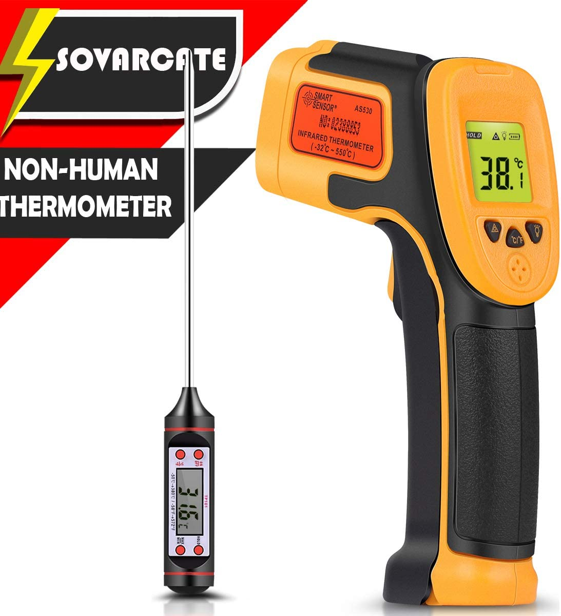 Infrared Thermometer, Digital IR Laser Thermometer Temperature Gun -26 F 1022 F -32 C 550 C Temperature Probe Cooking Air Refrigerator – Meat Thermometer Included -Non Body Thermometer