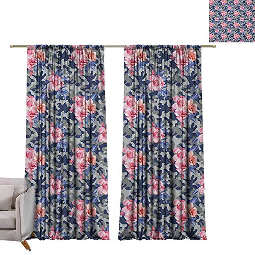 Adjustable Tie Up Shade Rod Pocket Curtain Camo,Victorian Theme Pink Retro Design Roses Urban Fashion Nature Feminine, Pink Violet Blue Sage Green W84 x L108 Blackout Draperies for Bedroom Kitchen